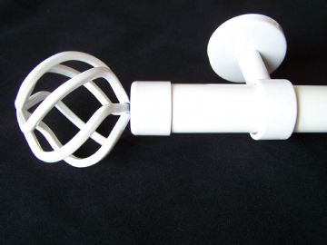 28mm Gloss White Ceiling Hung Eyelet Curtain Pole with Twisted Cage Finials 1.2m 1.5m 2.4m 3m